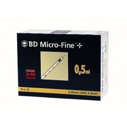 BD Micro-Fine+ U 40, 0,5 ml, 0,30 x 8 mm, 100 Stück