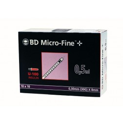 BD Micro-Fine+ U 100, 0,5 ml, 0,30 x 8 mm, 100 Stück