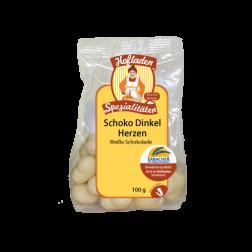 Schoko-Dinkel-Herzen weiße Schokolade, 100 g, 1 Stück