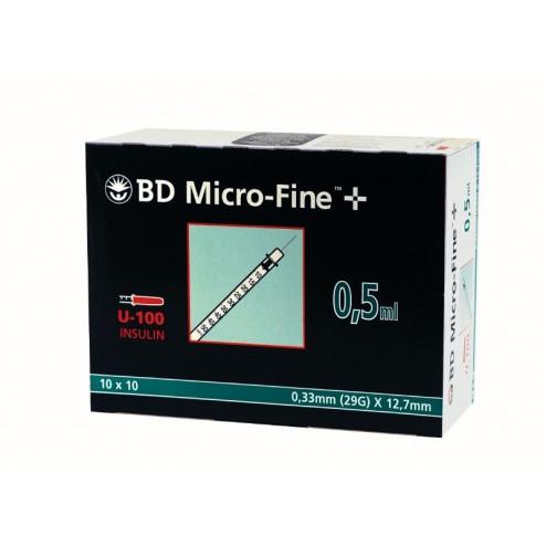 BD Micro-Fine+ U 100, 0,5 ml, 0,33 x 12,7 mm, 100 Stück