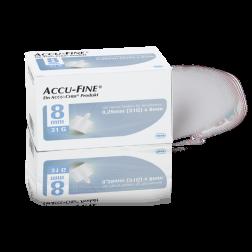 Accu-Fine sterile Nadeln für Insulinpens 8 mm 31 G, 100 Stück