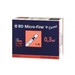BD Micro-Fine+ Demi, U 100, 0,3 ml, 0,30 x 8 mm, 100 Stück
