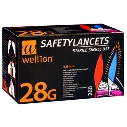 Wellion 28G - Sicherheitslanzetten, 200 Stück