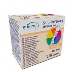 Klinion Soft Fine Colour - Lanzetten 28G, 110 Stück