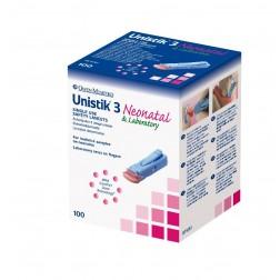 Unistik 3 Neonatal - Sicherheitslanzetten 18G, 1,8 mm Eindr.Tiefe Stechhilfe, 100 Stück