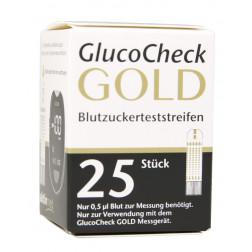 Aktivmed GlucoCheck Gold Blutzuckerteststreifen, 25 Stück