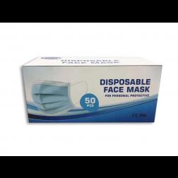 Atemschutzmaske 3-lagig mit Ohrschleife,blau/weiß, 50 Stück (Masken)