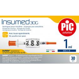 Insumed Insulinspritzen U 100, 1,0ml, 30 G, 0,30 x 8 mm, 30 Stück