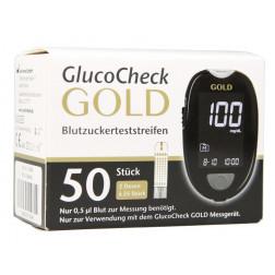 GlucoCheck Gold Blutzuckerteststreifen, 50 Stück